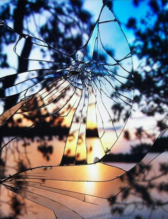 beautiful fractured window sunset