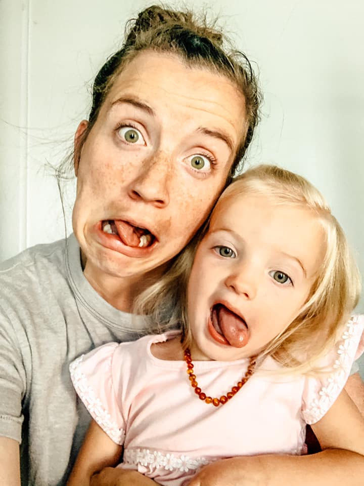 silly mom with child
