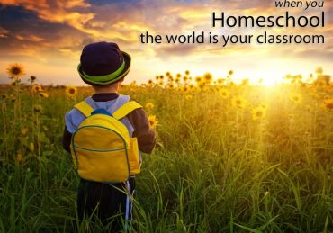 little boy in field homeschool classroom