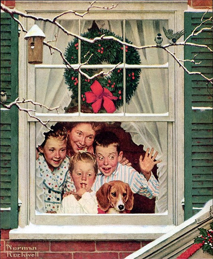 holiday kids at window